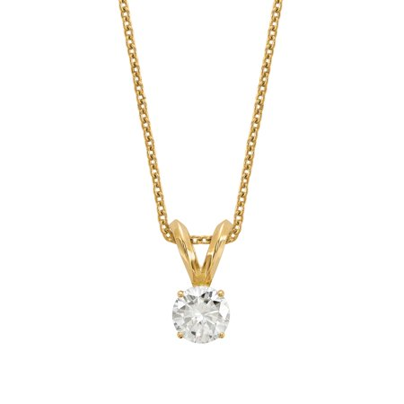 Si2 18k Yellow Gold Solitaire (Radiant Fire® Lab Grown 1/4 Ct Round Diamond Solitaire Necklace, SI2 clarity, D E F color, in 14K Yellow Gold )