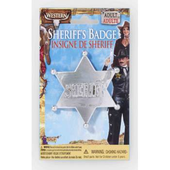 WILD WESTERN SHERIFF BADGE-SLV - Western Barmaid Costume