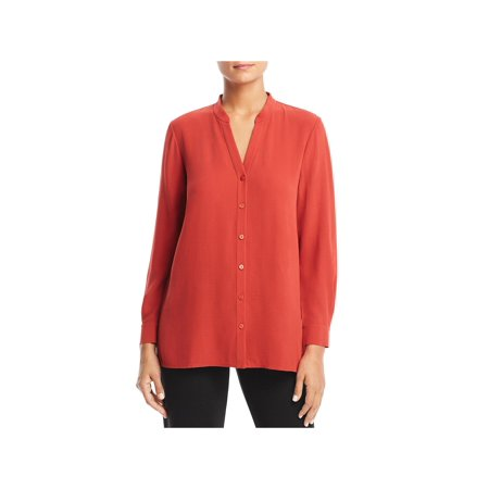 Eileen Fisher Silk Tunic - Eileen Fisher Womens Petites Silk Adjustable Sleeves Tunic Top