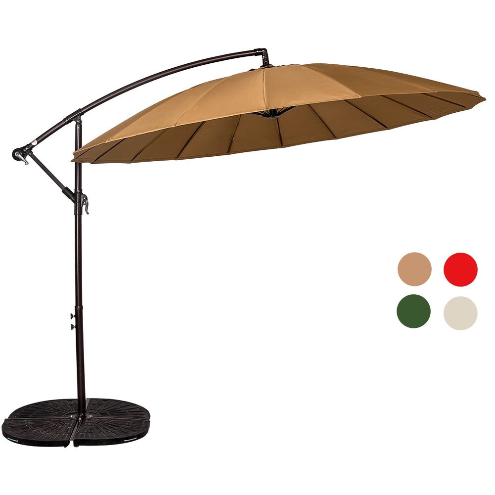 Sundale Outdoor Parasol 9 Feet Offset Patio Haning Umbrella With Crank And  18 Wire Ribs