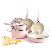 GreenLife Diamond Healthy Ceramic Nonstick, Cookware Pots and Pans Set, 14 piece, Pink