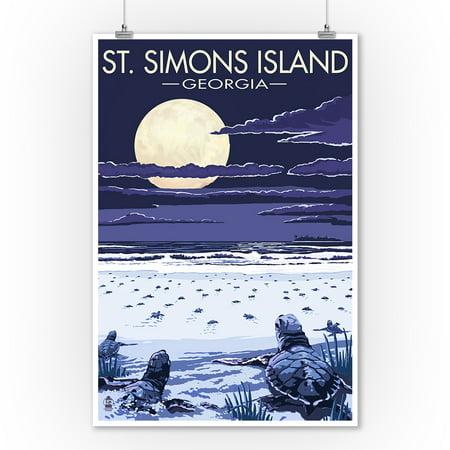 St. Simons Island, Georgia - Sea Turtles Hatching - Lantern Press Artwork (9x12 Art Print, Wall Decor Travel (Georgia Set)