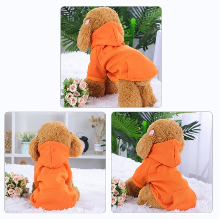 Polyester Dog Sweatshirt Hooded Hoody Pet Winter Clothes Coat w Pocket Orange L - image 1 of 7