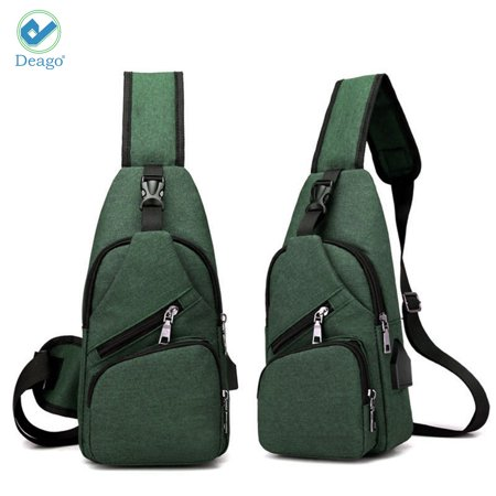 Deago Men Chest Pack Messenger Bags Casual Travel Crossbody Sling bag  Shoulder Bag W  USB Charging Daypack