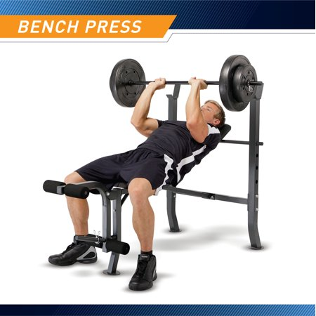 Marcy Standard Bench w/ 100 lb Weight Set Home Gym Workout Equipment