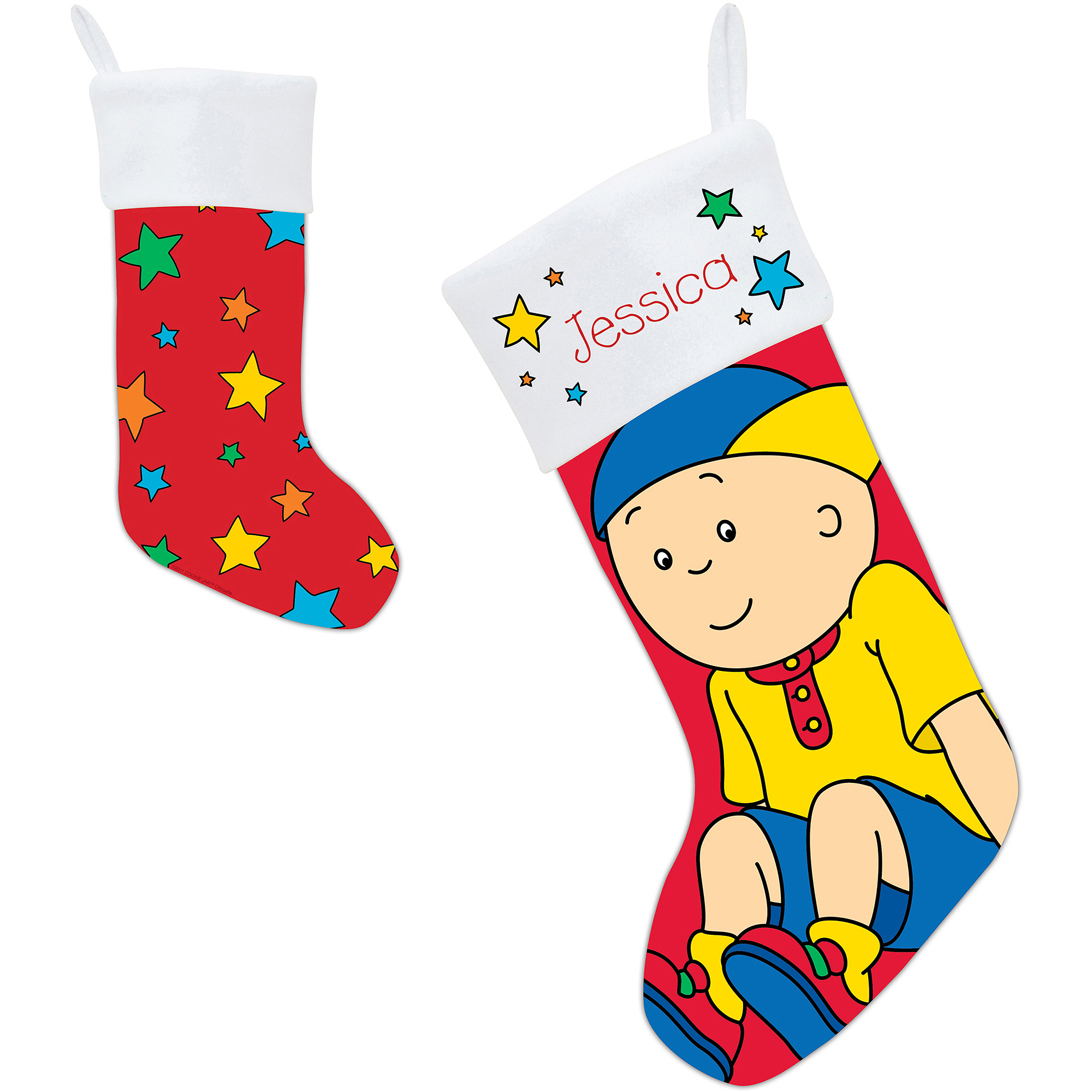 Personalized Caillou and Stars Christmas Stocking
