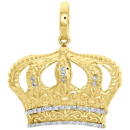 10K Yellow Gold Real Diamond King Hat Crown Pendant 1.30