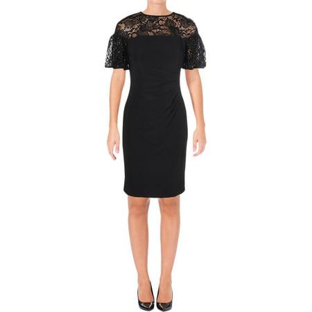Lauren Ralph Lauren Womens Wynne Sequined Lace Cocktail Dress Black