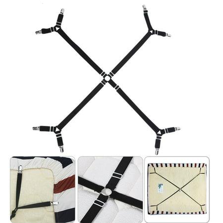 EEEKit Bed Sheet Suspenders Adjustable Heavy Duty Crisscross Fitted Sheet Band Mattress Pad Straps Grippers Corner Holder Elastic Fasteners Clips Gripper