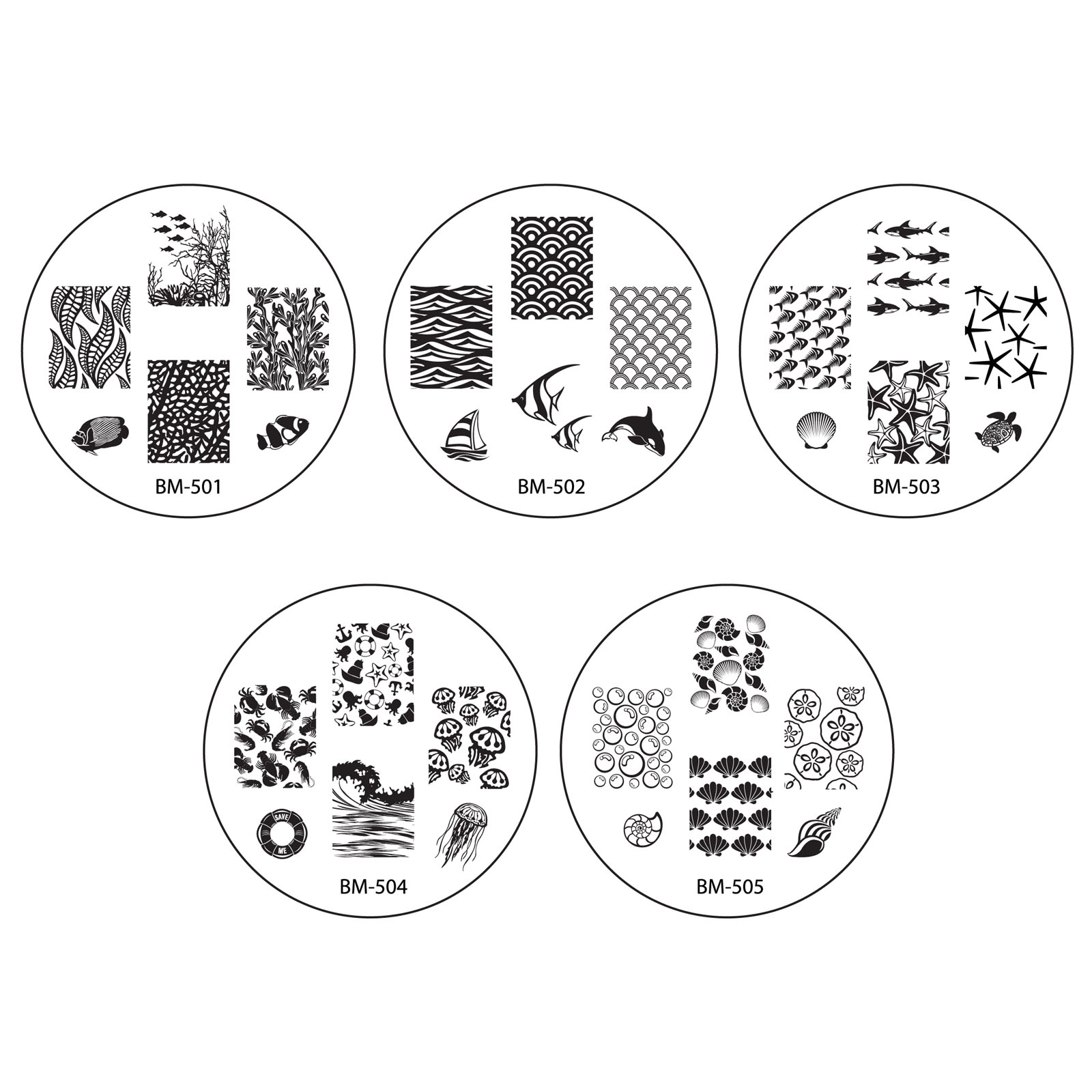 Bundle Monster 10pc Nail Art Stamping Image Plates - Sun Kissed Collection
