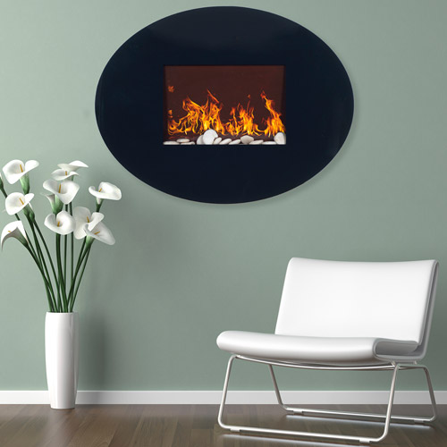 Northwest Black Oval Glass Electric Fireplace with Wall Mount ...