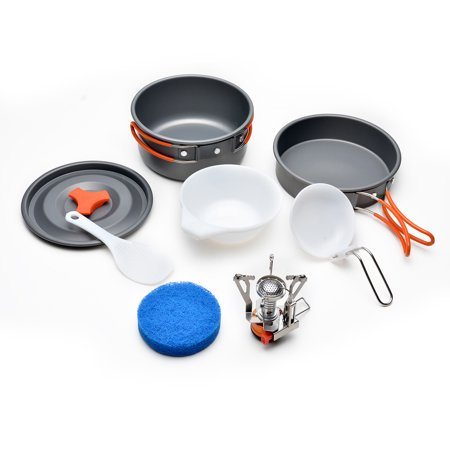 (ODOLAND Camping Cookware Kit w/ Mini Camping Stove Best 1-2 Person Pot Pan Kit)