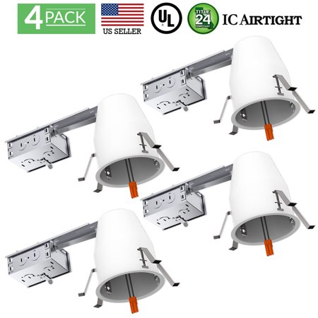 Sunco Lighting 4 Pack 4 Inch Remodel LED Can Air Tight IC Housing, Recessed Lights, LED Downlight, For Retrofit Kit, Electrician Prefered - UL Listed and Title 24 Certified (TP24) (Ballast Recessed Lighting Housing)