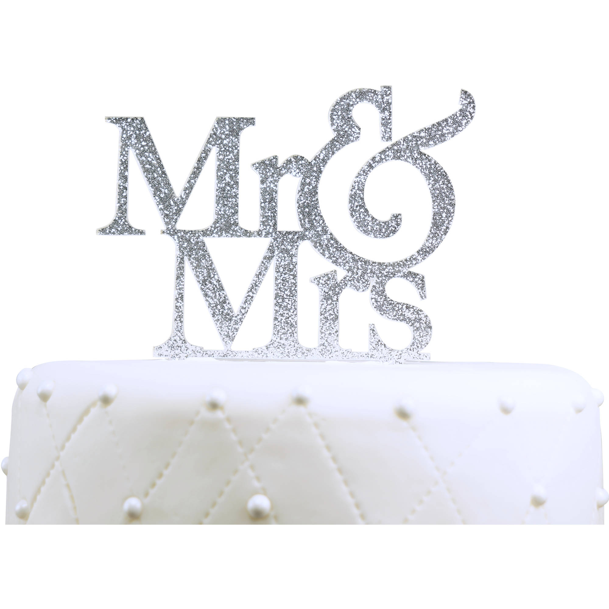 """Unik Occasions """"Mr. and Mrs."""" Large Acrylic Cake Topper, Silver Glitter"""