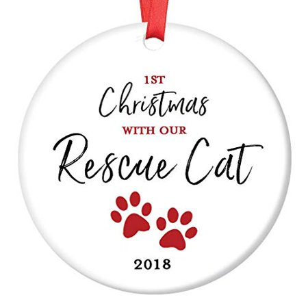 "Rescue Cat Ornament 2019 Pet Adoption Holiday Tree First Year 1st Christmas New Forever Home Kitty Kitten Adopted Ceramic Collectible Present 3"" Flat Porcelain Keepsake with Red Ribbon & Free Gift Box"