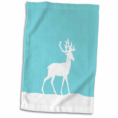 Team Snow (3dRose Ice Blue reindeer in the snow - white deer silhouette on teal turquoise aqua - for Christmas Xmas - Towel, 15 by 22-inch )