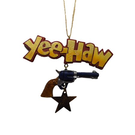 Yee Haw Star Western Cowboy Pistol in Holster Christmas Tree Ornament By JWM Ship from US](Western Christmas)