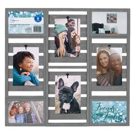 "Mainstays 19"" x 18"" Pallet Collage Frame 8 Openings, Gray Finish"