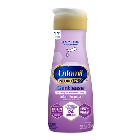 Enfamil NeuroPro Gentlease Baby Formula Liquid, for Fussiness, Gas, and Crying - Ready-to-Use Bottle, 32 fl oz