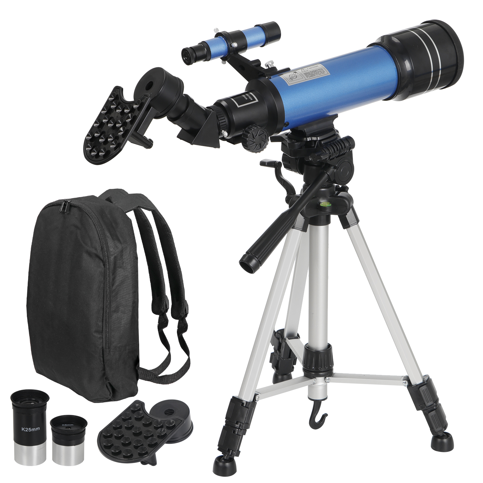 Zeny Telescope for Kids and Adults 70mm Portable Travel Telescope Astronomy Refractor Telescopes with Universal Wheel Tripod Observing Moon and Scenery (Rucksack&Mobile Stands Included)