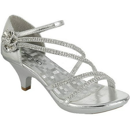 - Angel-48 Women Party Evening Dress Bridal Wedding Rhinestone Platform Kitten Heel Sandal Shoe Silver