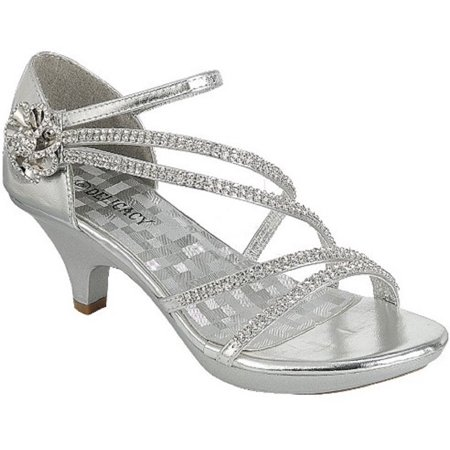 Angel-48 Women Party Evening Dress Bridal Wedding Rhinestone Platform Kitten Heel Sandal Shoe Silver