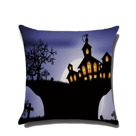 JIMSHOP Halloween Horror House Pumpkin Devil Smile Pattern Cotton Linen Pillow Cases Cushion Covers - Horror Halloween Pumpkin