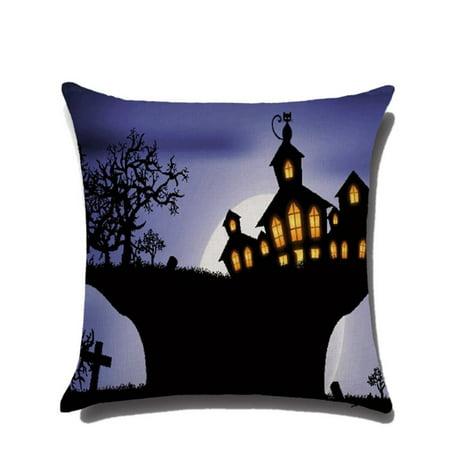 JIMSHOP Halloween Horror House Pumpkin Devil Smile Pattern Cotton Linen Pillow Cases Cushion Covers](Pumpkin Deviled Eggs Halloween)