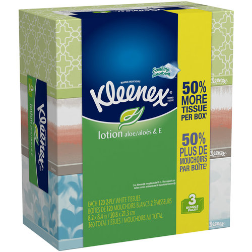 Kleenex Facial Tissues, Lotion, 120 Sheets, Pack of 3 (Designs May Vary)
