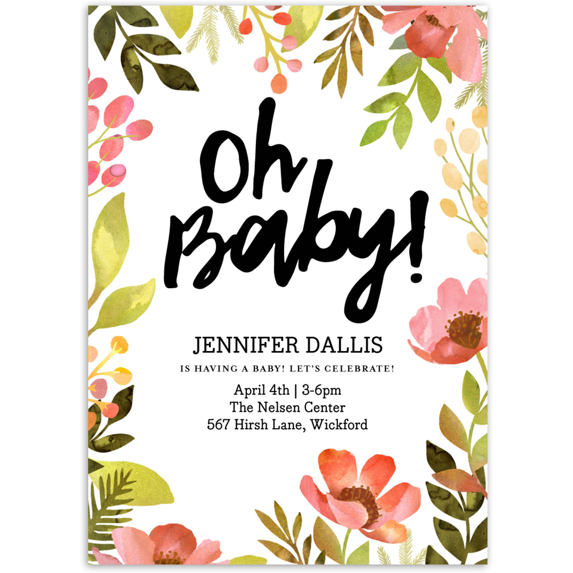 Bright Floral Baby Invitation