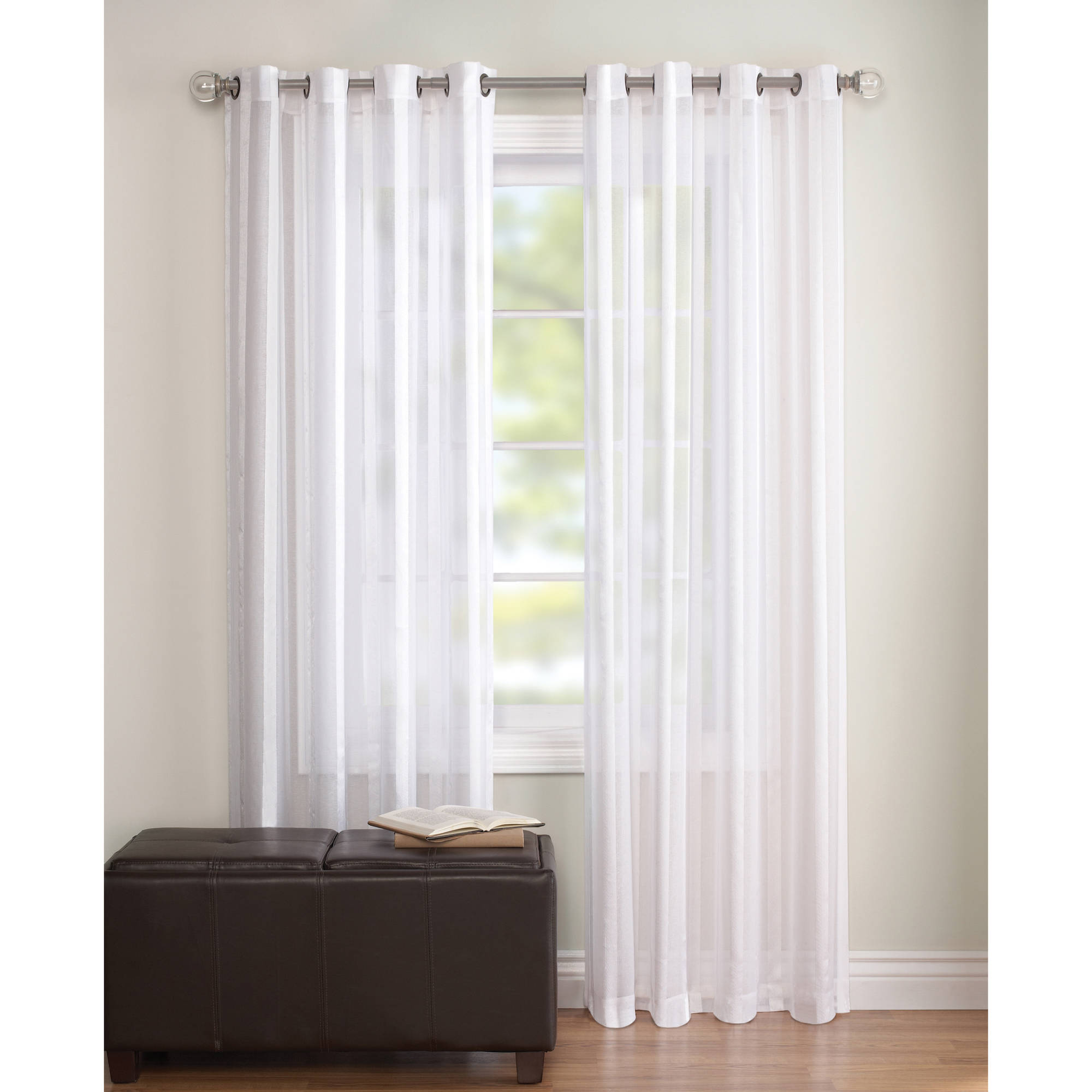 better homes gardens embroidered sheer curtain panel walmartcom - White Sheer Curtains