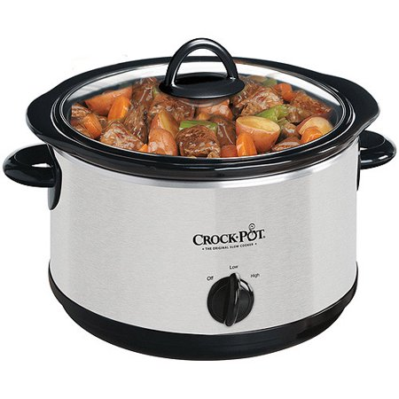 Crock Pot 4 Quart Round Slow Cooker  Silver