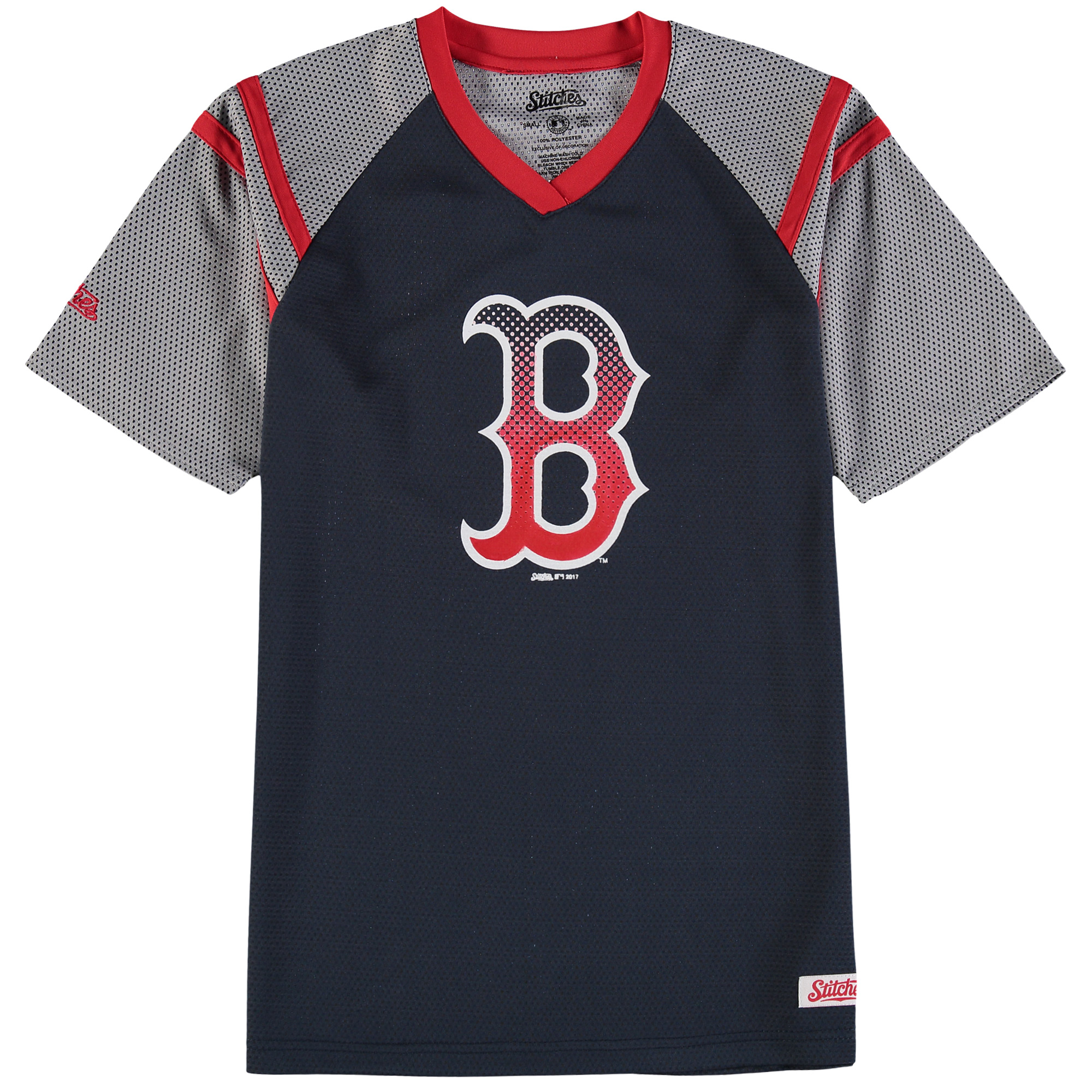 Boston Red Sox Stitches Youth Mesh V-Neck Jersey T-Shirt - Navy/Red