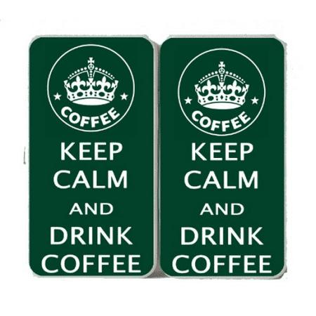 Keep Calm and Drink Coffee Crown Logo - Taiga Hinge Wallet Ladies Clutch