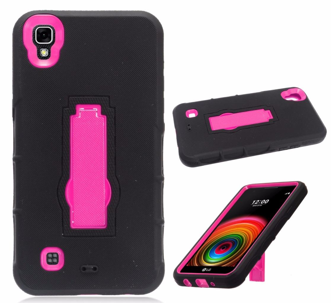 For LG Tribute HD Case / LG X Style Case / L53B L56VL LS676 Symbiosis Armor Hybrid Silicone Phone Cover Hard Plastic w/ Stand (Pink/Black)