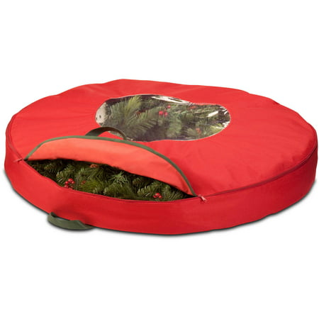 Honey Can Do 36u0022 Canvas Wreath Storage Bag with Easy-Open Zipper, Green/Red