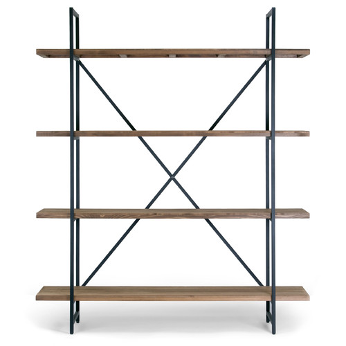 """Ailis 75"""" Brown Pine Wood Metal Frame Etagere Bookcase Four-shelf Media Center by Glamour Home"""