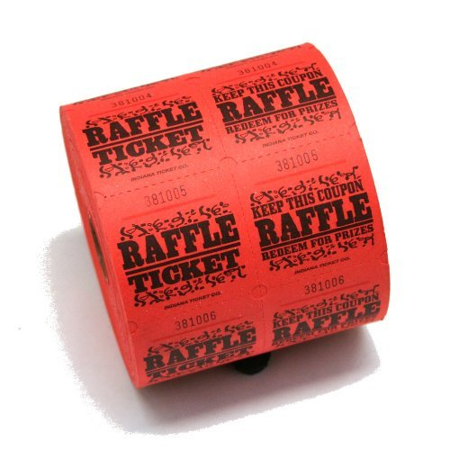 Red Raffle Tickets : roll of 1000, 1,000 tickets per roll By