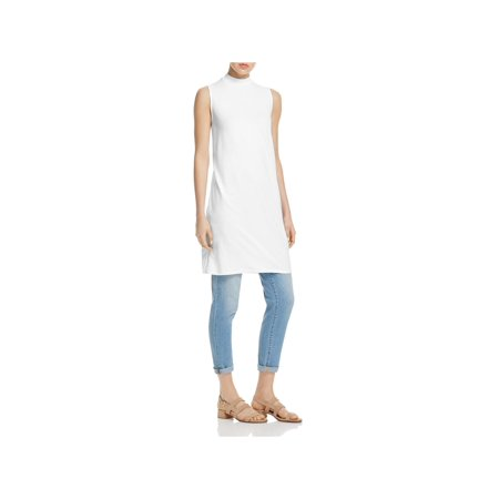 Eileen Fisher Womens Sleeveless Mock Neck Tunic Top