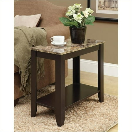 Monarch Accent Table Cappuccino / Marble Top - Marble Top Table