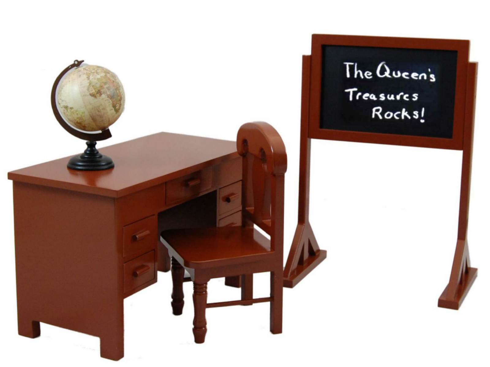 18 In Doll Furniture & Accessory, School Teachers Desk, Chair, Chalkboard, Globe by The Queen's Treasures