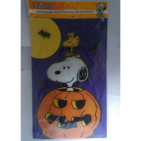 Peanuts Halloween Window Clings ~ Large Clings: Snoopy on Pumpkin with Woodstock in 3-d for $<!---->