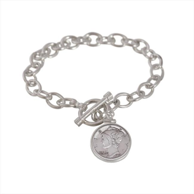 American Coin Treasures 11896 Sterling Silver Mercury Dime Toggle Bracelet