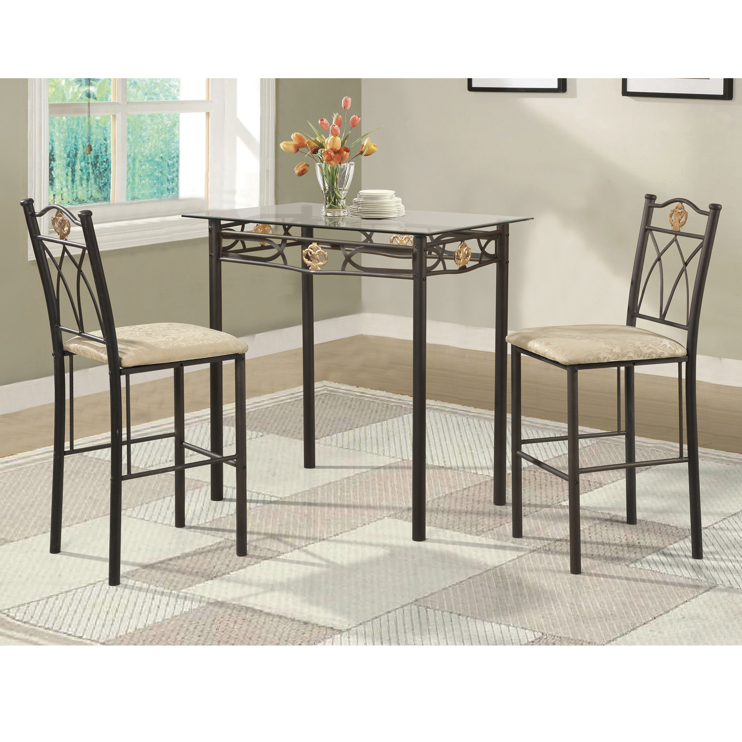 Home Source Crown Bronzed Counter Height 3 Piece Bistro Set