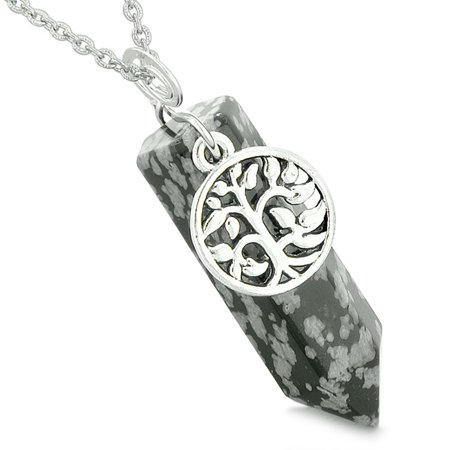 Handcrafted Snowflake Obsidian - Magical Tree of Life Energy Amulet Lucky Crystal Point Snowflake Obsidian Pendant 18 Inch Necklace