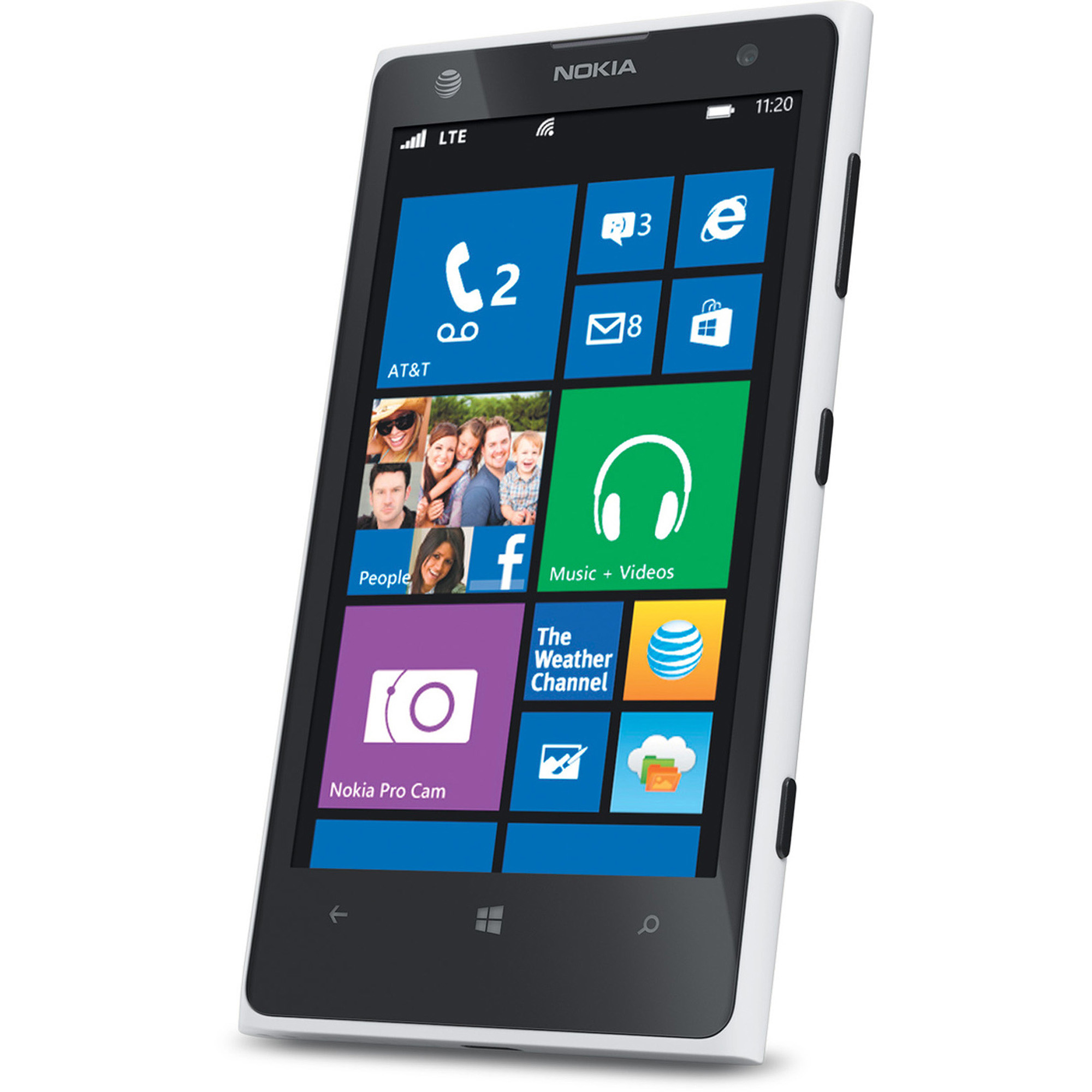 Nokia Lumia 1020 AT&T Windows 8 Smartphone, White/Black