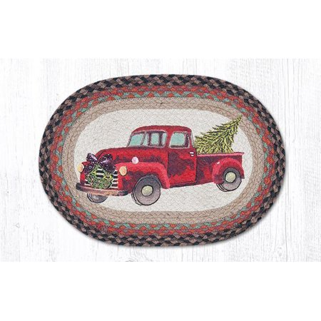 RED CHRISTMAS TRUCK 100% Natural Braided Jute Placemat, 13