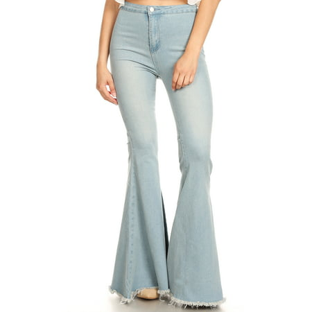 Women's Classic Retro High Waist Long Denim Bell Bottom Jeans