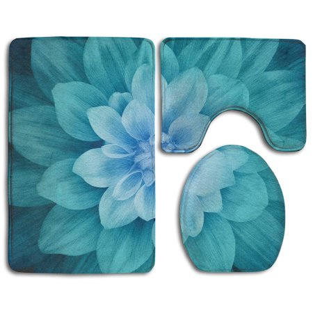 EREHome Dream Big Flower 3 Piece Bathroom Rugs Set Bath Rug Contour Mat and Toilet Lid Cover - image 1 of 2