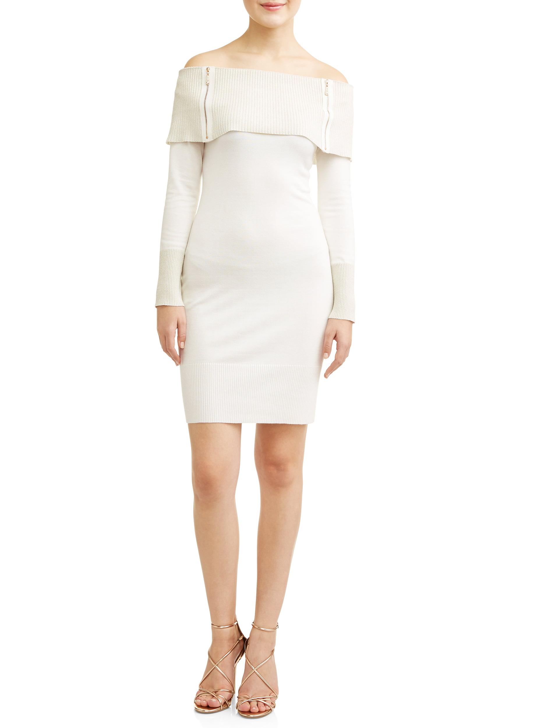 No Boundaries Junior's Marilyn Neck Sweater Dress with Zippers